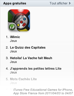iMimic: #1 on Free iPhone Educational Games in France